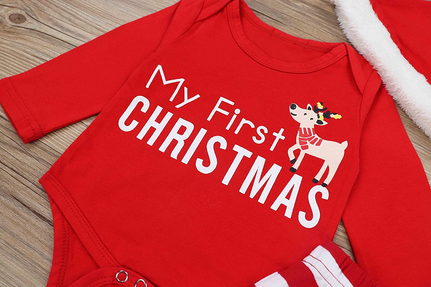 9f3fefa6c Amazon.com: Doding Christmas Outfits Baby Boys Girls My First Christmas  Rompers Clothes Set 0-6 Months: Clothing
