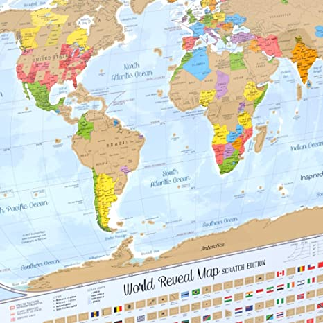 Amazon scratch off world map poster with 232 world flags scratch off world map poster with 232 world flags us states and canadian provinces outlined gumiabroncs Images