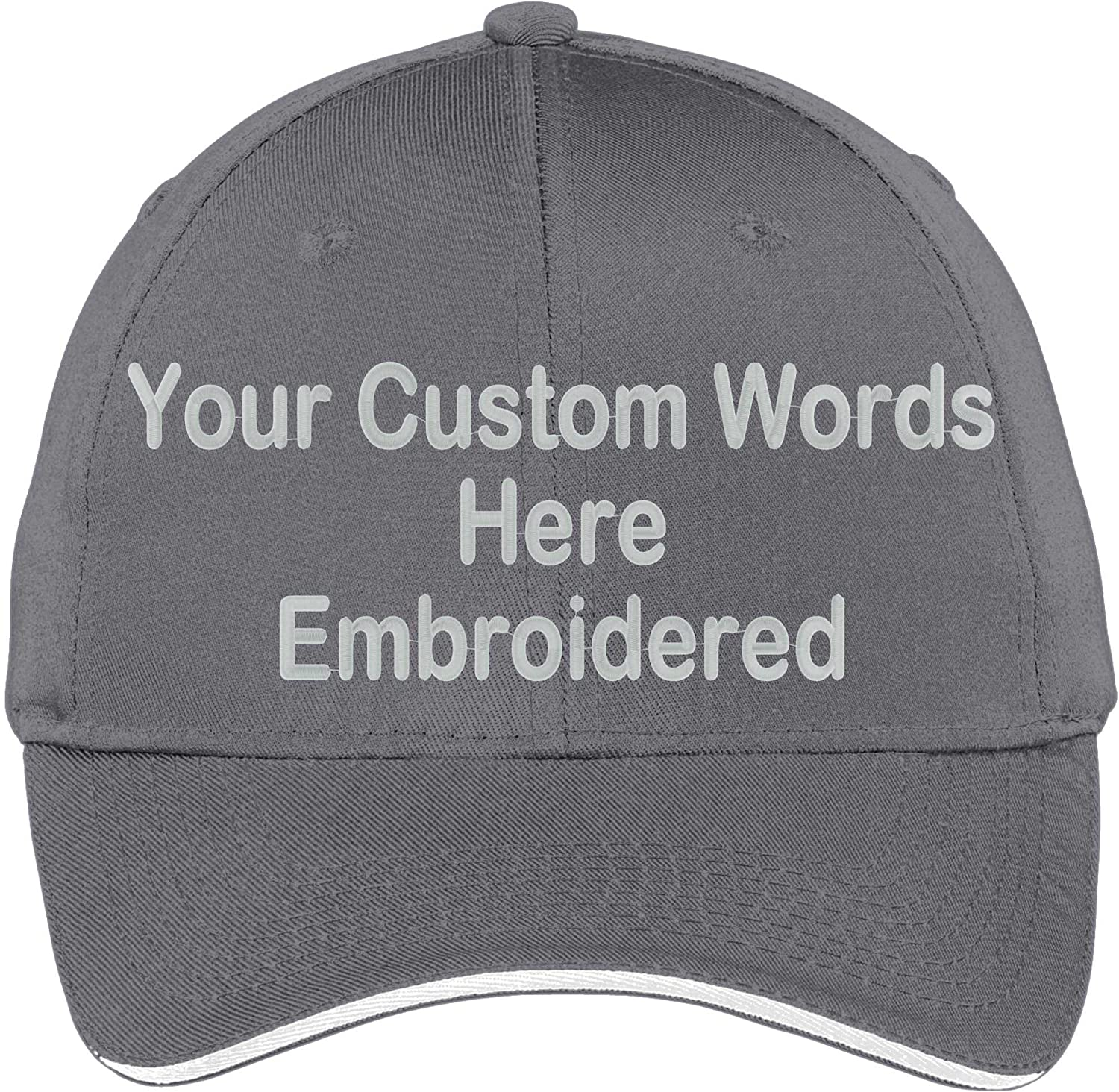 Custom Hat Add Your Own Text Embroidered Adjustable Size Curved Bill Cap