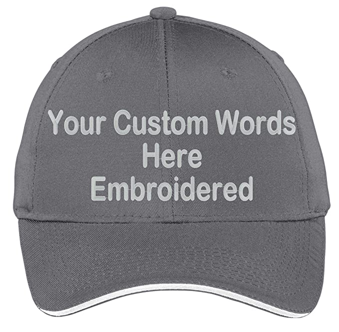 quite nice 950f4 1a95a Custom Hat, Embroidered. Your Own Text. Adjustable Back. Curved Bill Many  Colors (2 Tone Brushed Twill Khaki Hat Black Bill) at Amazon Men s Clothing  store