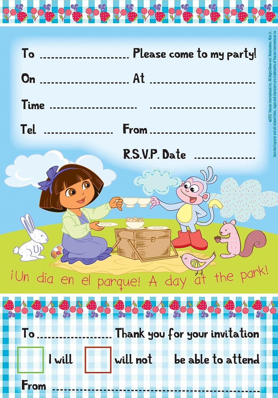 Amazon.com : 20 Dora the Explorer Perfect Picnic Purple Party Invitations Plus Envelopes : Office Products