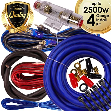 complete 2500w gravity 4 gauge amplifier installation wiring kit amp pk2 4  ga blue - for