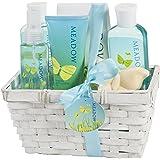 Meadow Bath Gift Set in Wicker White Basket, Shower Gel,Bubble Bath, Bath Salt,Body Lotion,Body Spray,Bath Fizzer