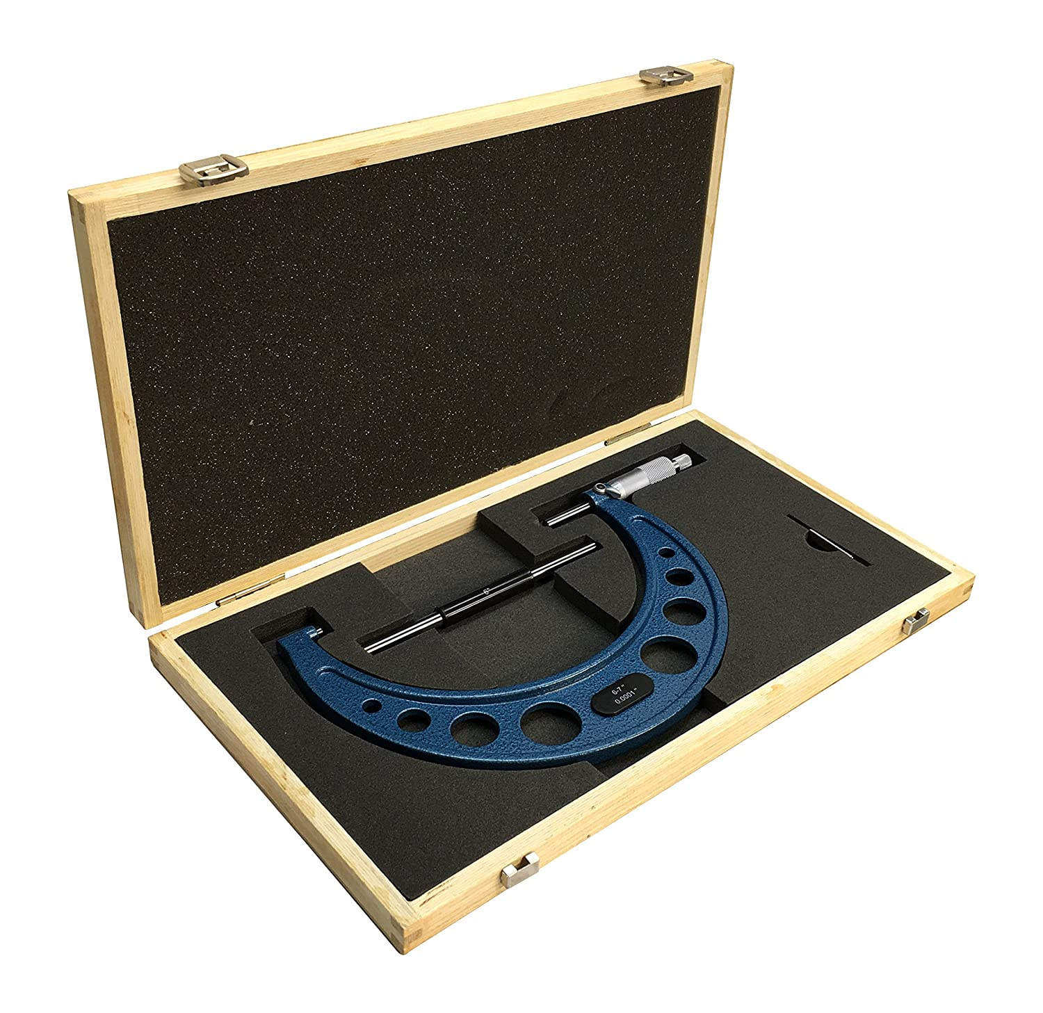 6-7 Inch Outside Micrometer .0001 Inch Graduation Wooden Case Solid Metal Frame
