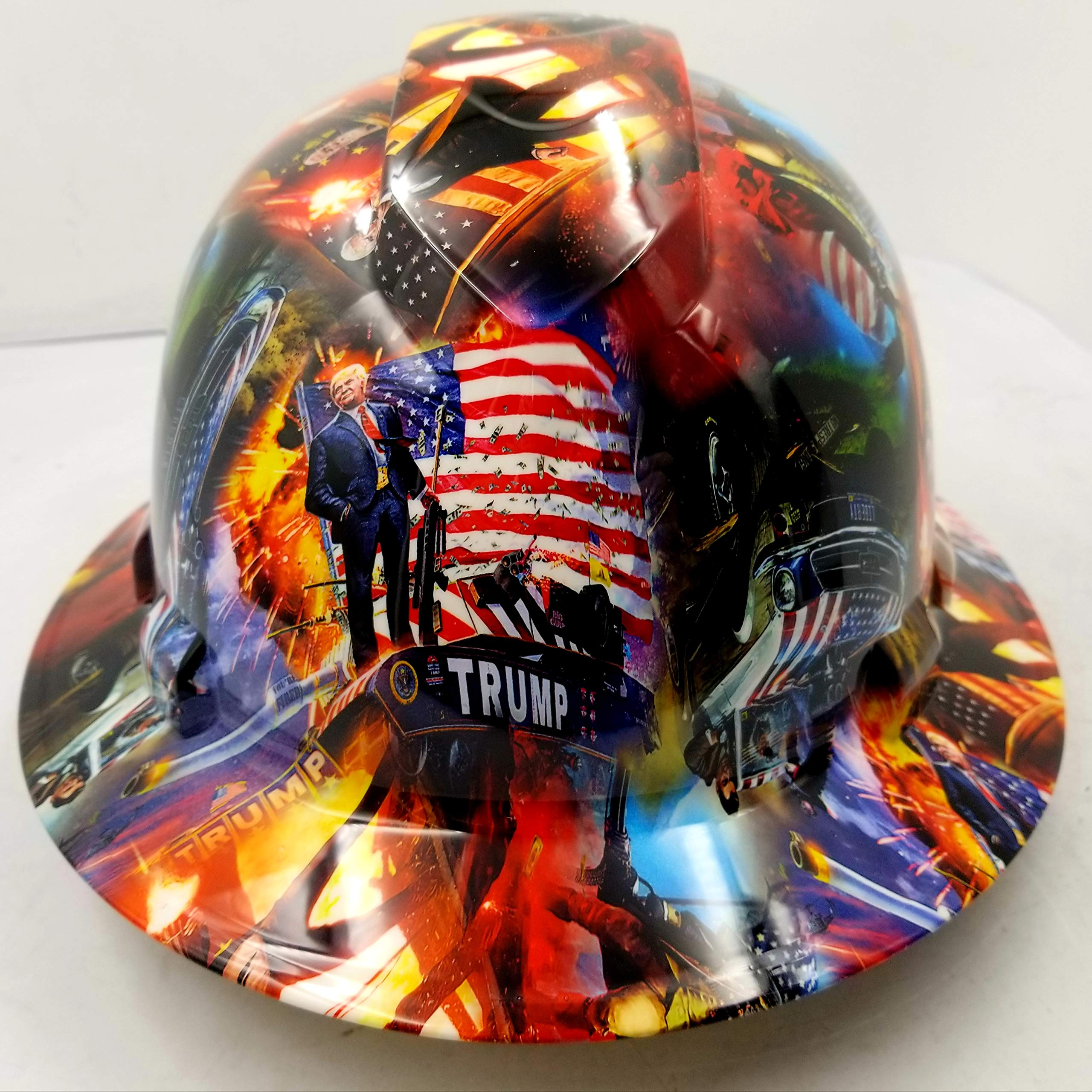 Wet Works Imaging Customized Pyramex Full Brim President Trump Donald Trump Hard HAT with Ratcheting Suspension Custom LIDS Crazy Sick Construction PPE