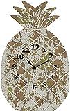 Creative Co-Op DA6669 Distressed Yellow & green Pineapple Shaped Wall Clock