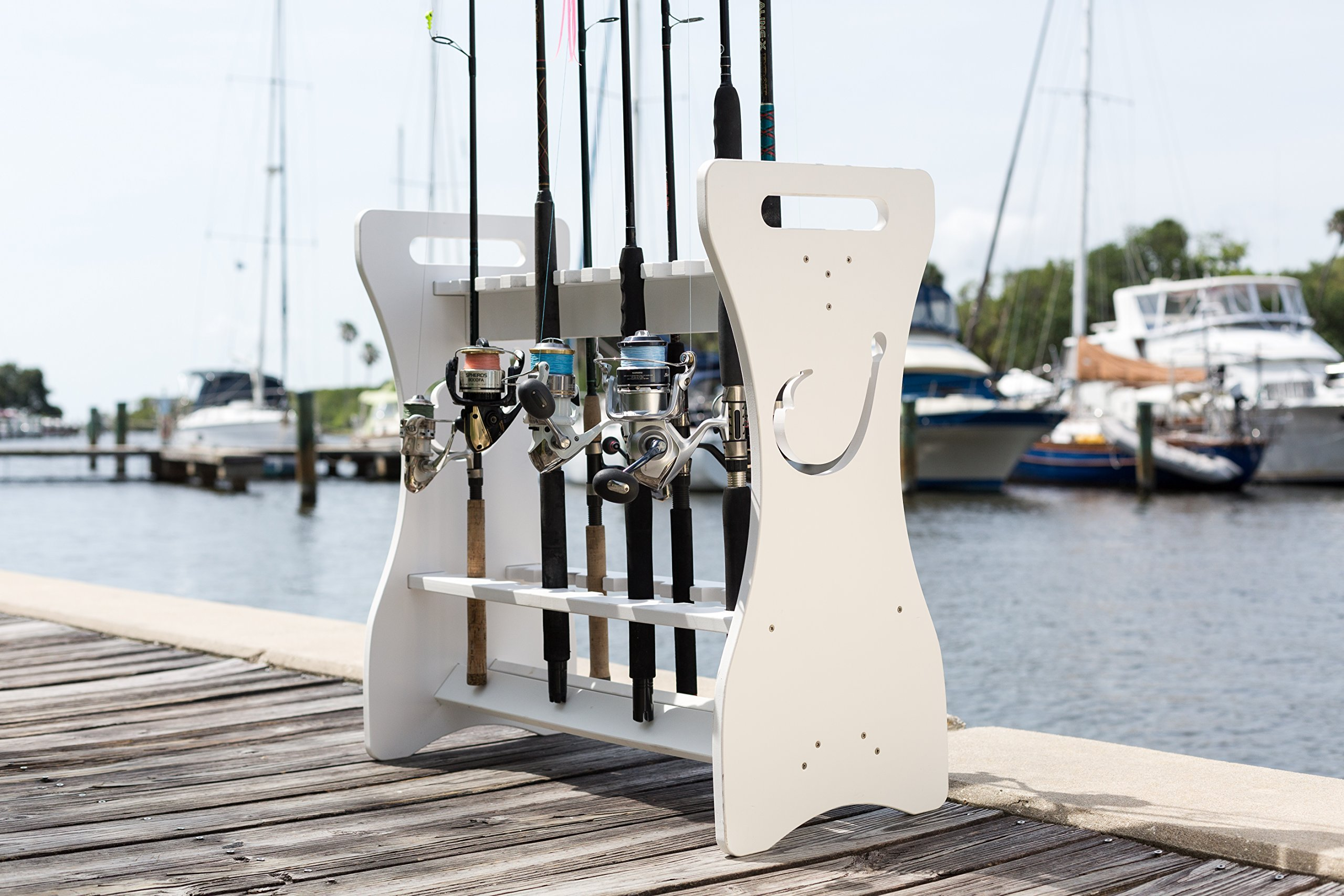 Fishing Rod Rack - Hook Design - Store and Organize up to 24 Fishing Rods and Reels by Sea Racks