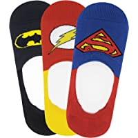 Justice League Men's Cotton Loafer Socks with Anti Slip Silicon - Superman, Batman, Flash - Pack of 3- No Show/Invisible Socks