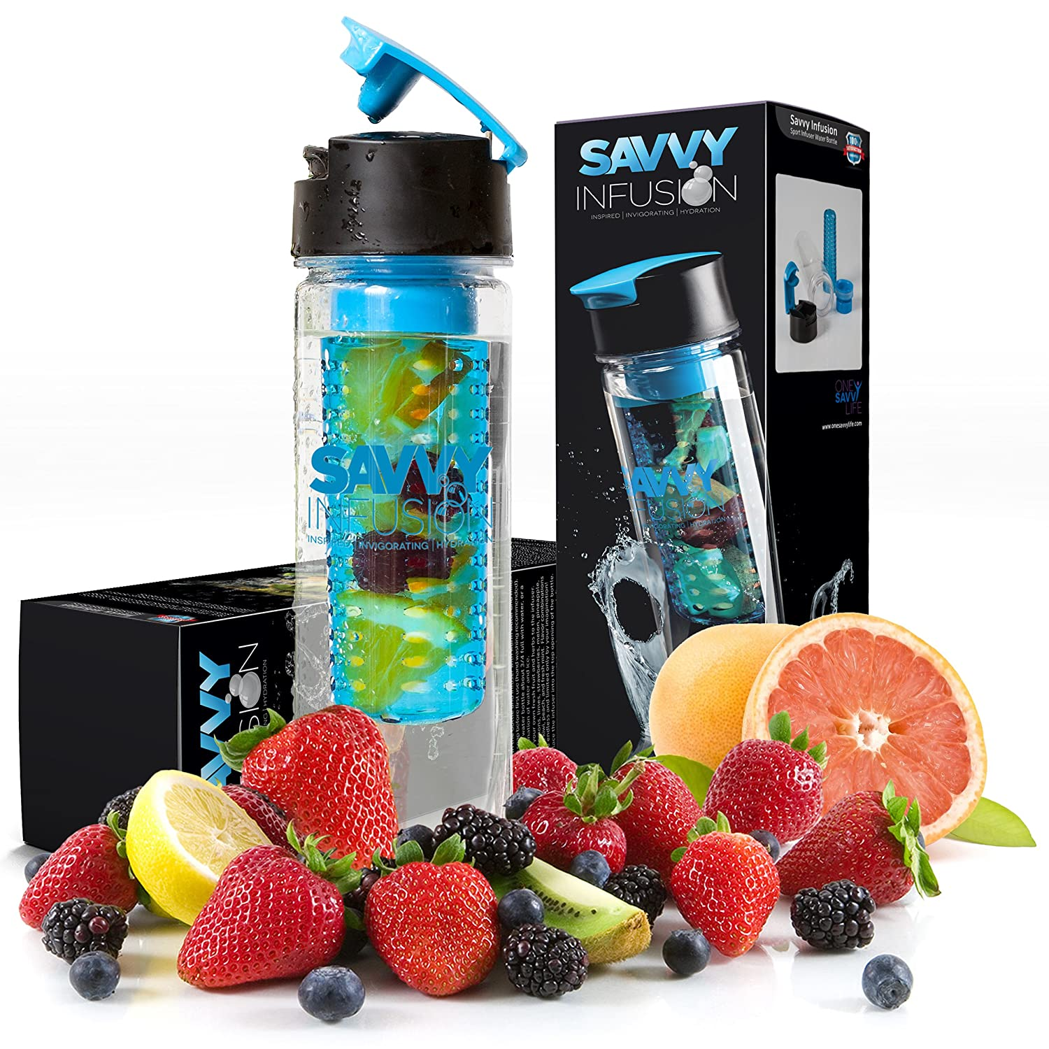 Savvy Infusion - Flip-Top Sport Infuser Water Bottle