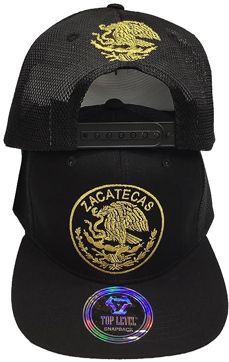 e2dab2c04e297 Zacatecas Mexico Logo Federal Hat Black Snapback Mesh