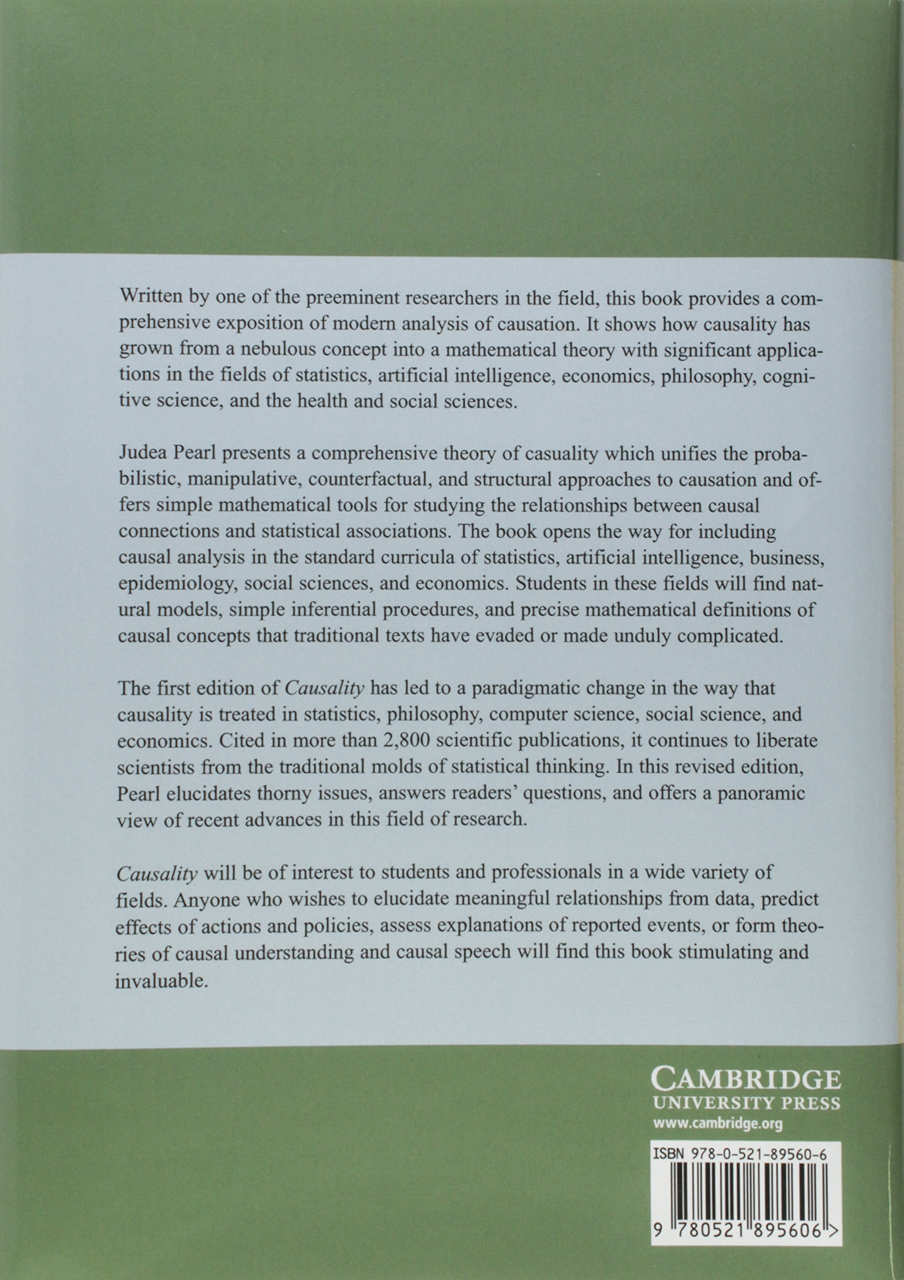 Causality: Models, Reasoning and Inference by Brand: Cambridge University Press