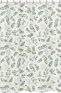 Sweet Jojo Designs Floral Leaf Bathroom Fabric Bath Shower Curtain - Green and White Boho Watercolor Botanical Woodland Tropical Garden
