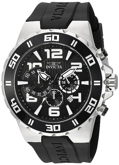 Amazon.com: Invicta Mens Pro Diver Quartz Stainless Steel and Polyurethane Casual Watch, Color:Black (Model: 24668): Invicta: Watches