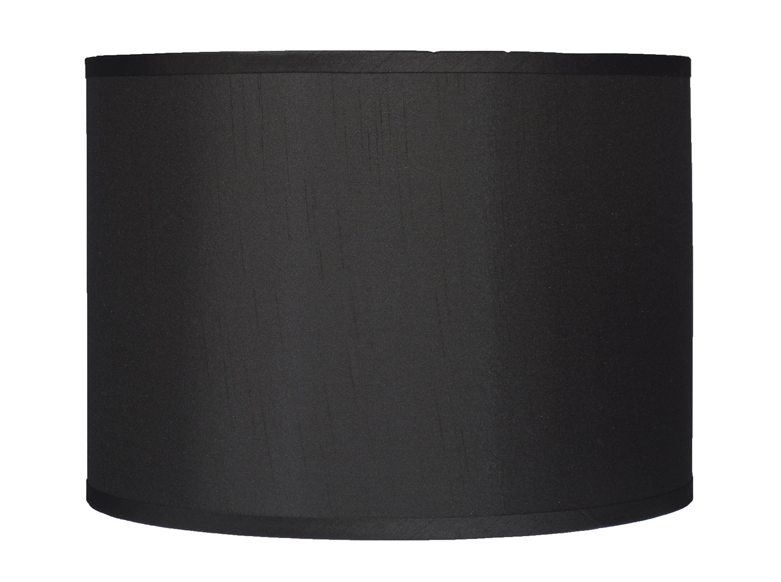 Urbanest Faux Silk Drum Lampshade, 14-inch by 14-inch by 10-inch, Black, Spider Fitter