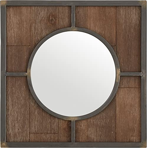 Amazon Brand Stone Beam Round Wood Quadrant Hanging Wall Mirror, 15 Inch Height, Dark Wood Finish
