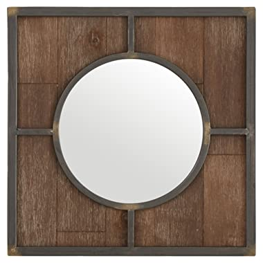 Stone & Beam Round Wood Quadrant Hanging Wall Mirror, 15 Inch Height, Dark Wood Finish