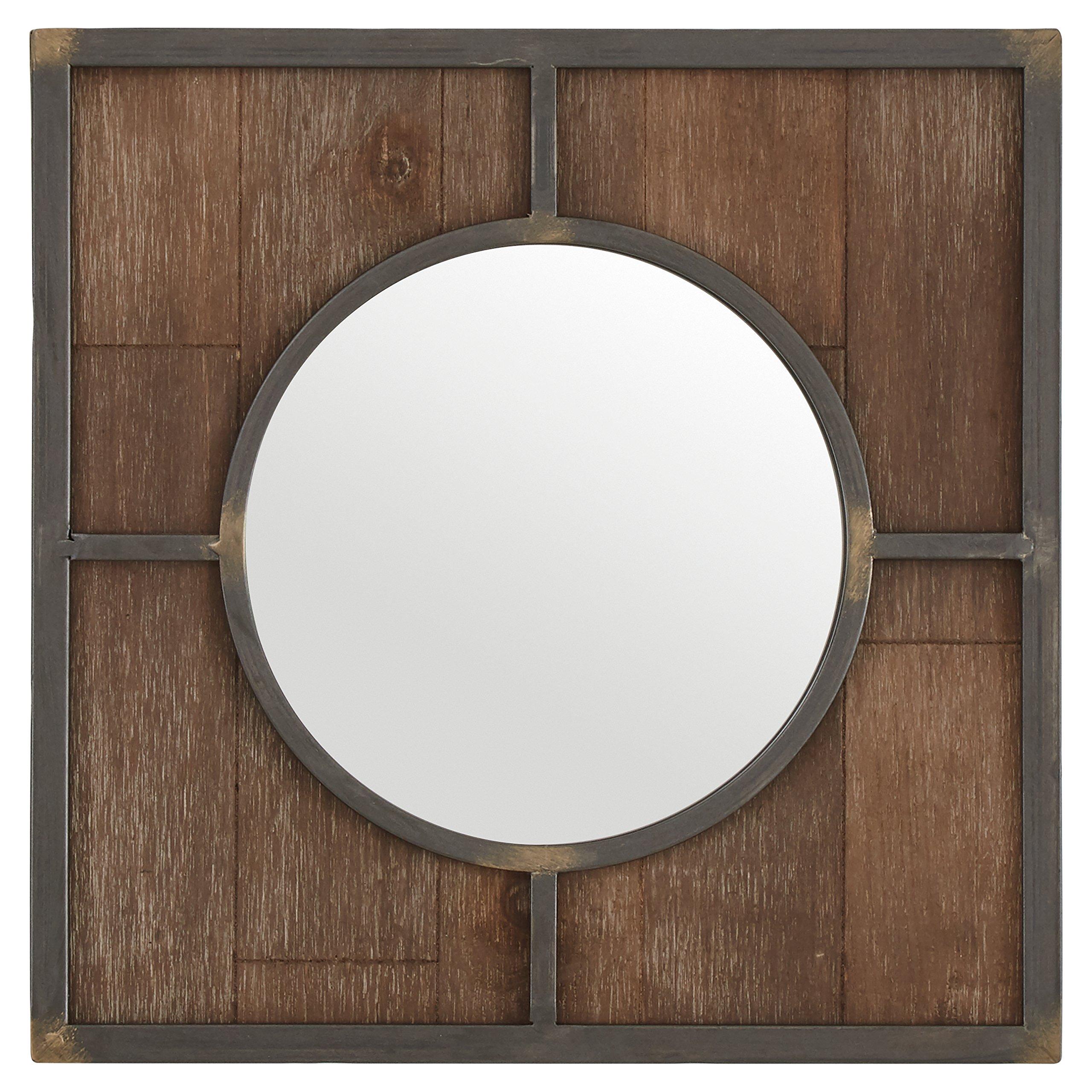 Stone & Beam Round Wood Quadrant Mirror, 15''H, Dark Wood Finish