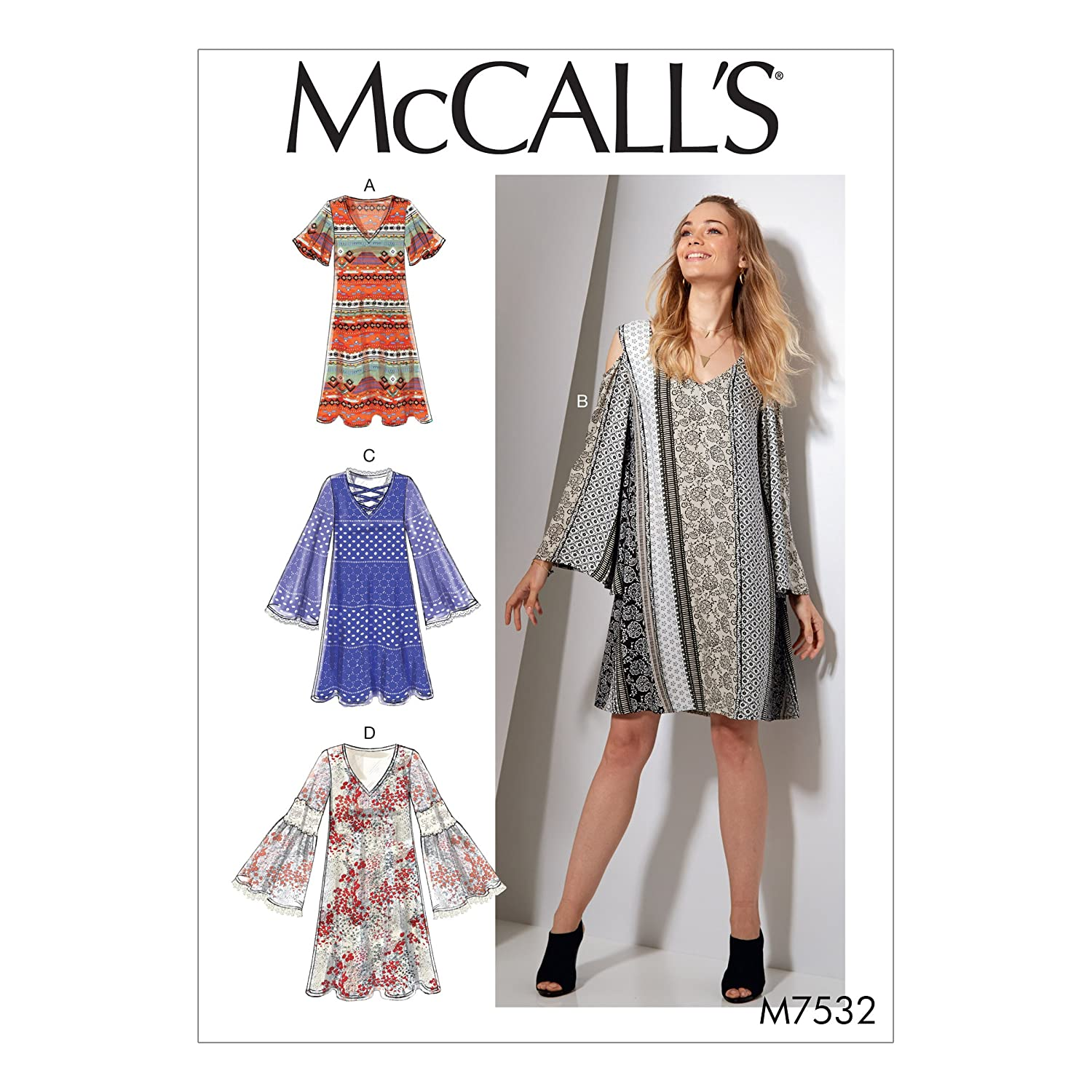 Amazon.com: MCCALLS M7532 Misses V-Neck, Flared-Sleeve Dresses (SIZE 6-14) SEWING PATTERN: Arts, Crafts & Sewing