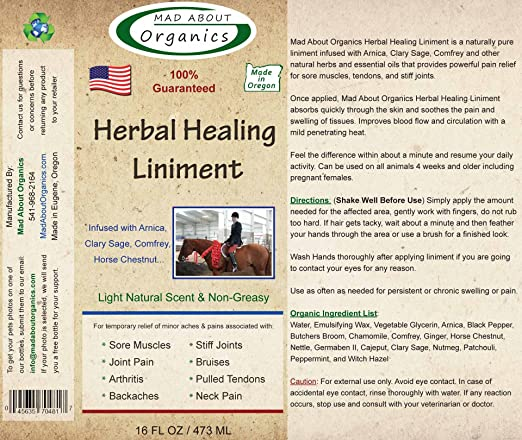 Mad About Organics All Natural Pain-Relieving Herbal Healing Liniment for  All Pets 16oz