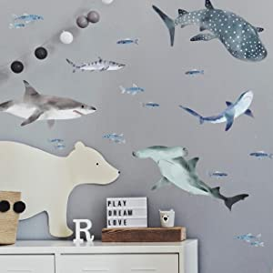 RoomMates - RMK4311SCS Sharks Peel And Stick Wall Decals | Blue & Gray Wall Stickers