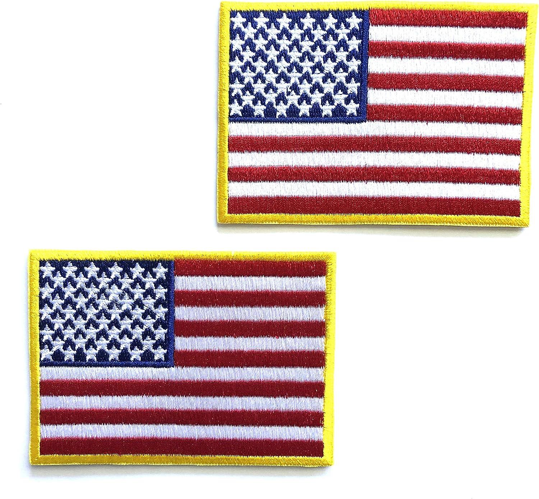 US Flag Gold Border Embroidered Patch Iron//Sew-On Applique Biker Emblem Tactical