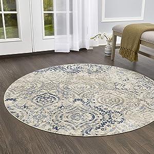 "Home Dynamix Melrose Audrey Area Rug, 7'10"" Round, Ivory/Blue"