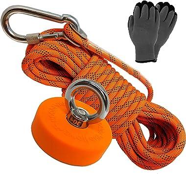Rope Carabiner Fishing Magnet Kit Upto 2000 Lbs Pull Force Strong Neodymium