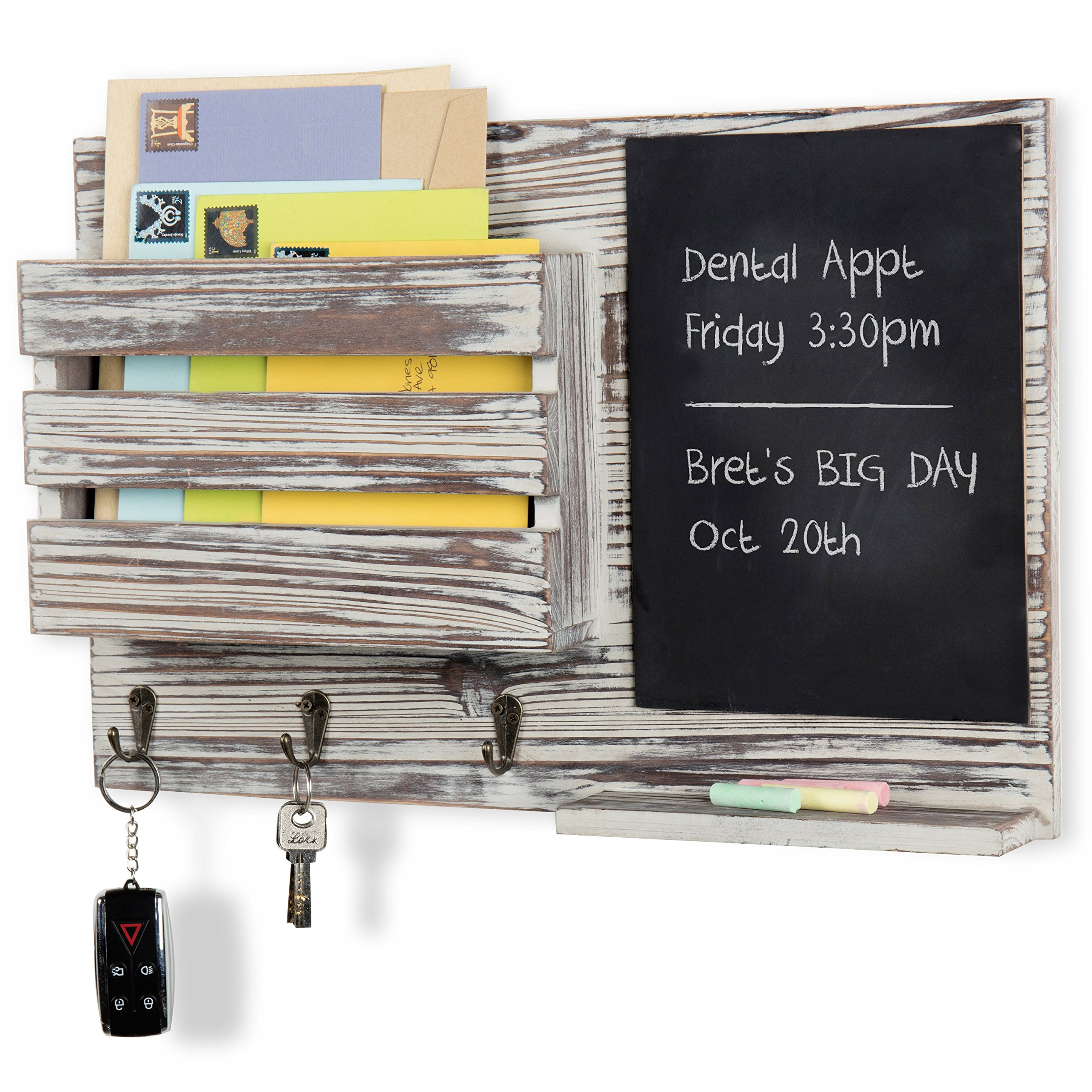 MyGift Torched Wood Wall-Mounted Mail Organizer with Chalkboard & 3 Key Hooks
