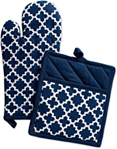 "DII Cotton Lattice Oven Mitt 13 x 7"" andPot Holder 9 x 8"" Kitchen Gift Set, Machine Washable and Heat Resistant for Cooking & Baking-Nautical Blue"