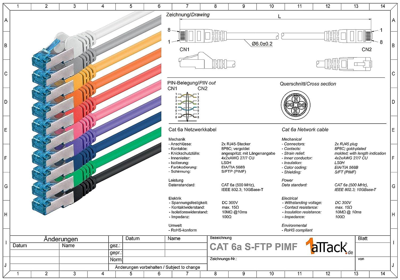 Rete Cavi Cat6a per switch router, S-FTP non contiene alogeni compatibile con CAT 5e // CAT6 // CAT7 4x2xAWG26 // 7 CU rame PIMF 10 // 100//1000 // 10000Mbit // s certificato GHMT bianco 1,5m CAT 6a doppia schermatura 10 pezzi 500MHz