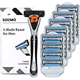 Amazon Brand - Solimo 3-Blade MotionSphere Razor for Men with Dual Lubrication, Handle & 20 Cartridges (Cartridges fit Solimo Razor Handles only)