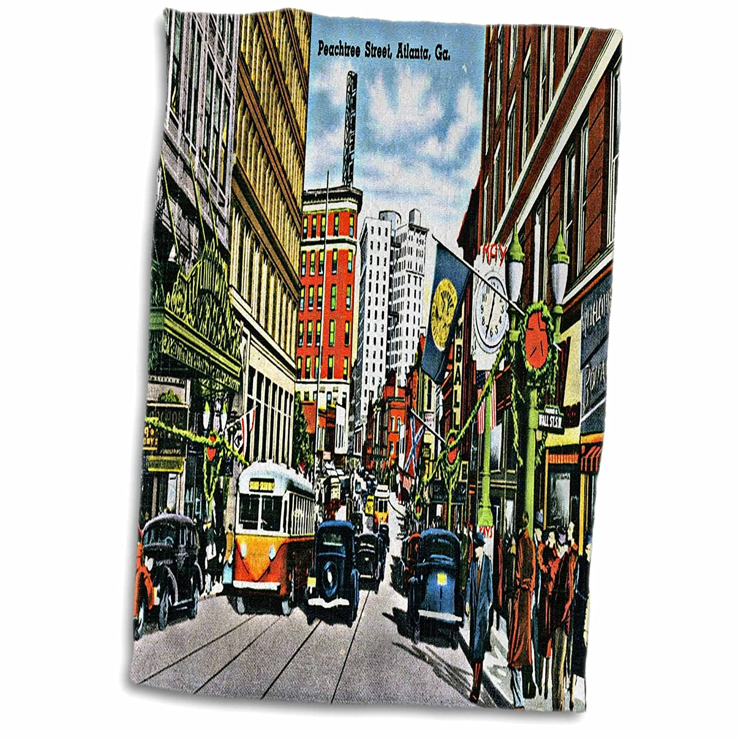 3D Rose Peachtree Street Atlanta Georgia with Antique Cards and People Towel 15 x 22
