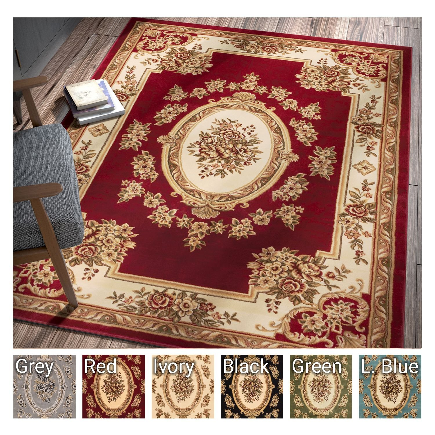 Pastoral Medallion Red French European Formal Traditional 5x7 (5'3'' x 7'3'') Area Rug Easy to Clean Stain Fade Resistant Shed Free Modern Contemporary Floral Thick Soft Plush Living Dining Room Rug by Well Woven