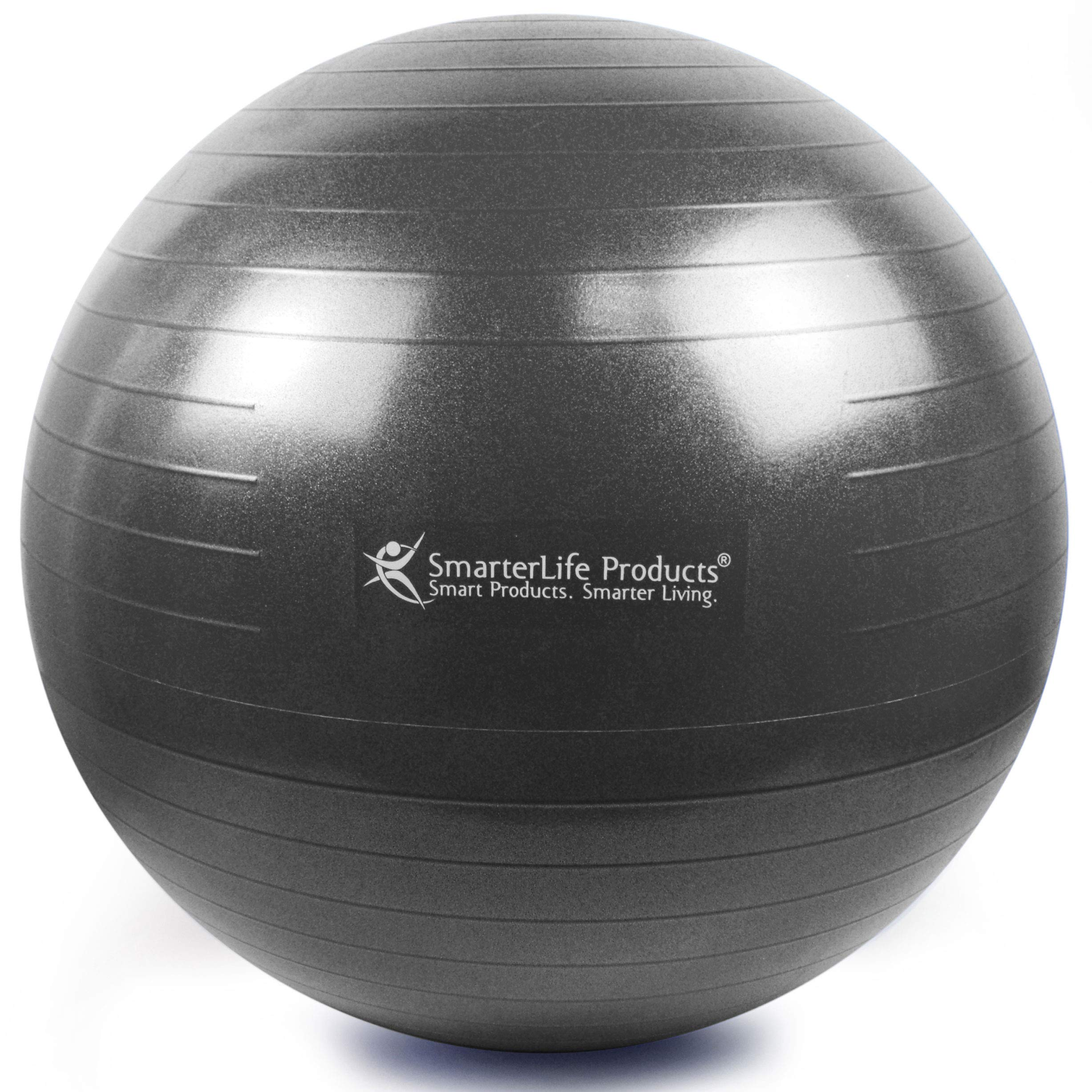 Exercise Ball for Yoga, Balance, Stability from SmarterLife - Fitness, Pilates, Birthing, Therapy, Office Ball Chair, Classroom Flexible Seating - Anti Burst, Non Slip + Workout Guide (Black, 65cm) by SmarterLife Products (Image #1)