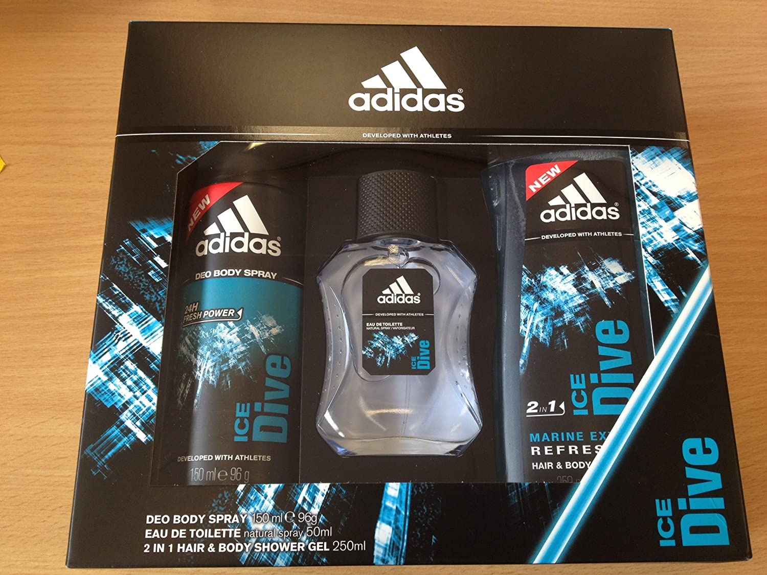 Adidas ICE DIVE Trio Gift Set 50ml EDT / Deo Body Spray 150ml / 2 in 1 Hair & Body Shower Gel 25