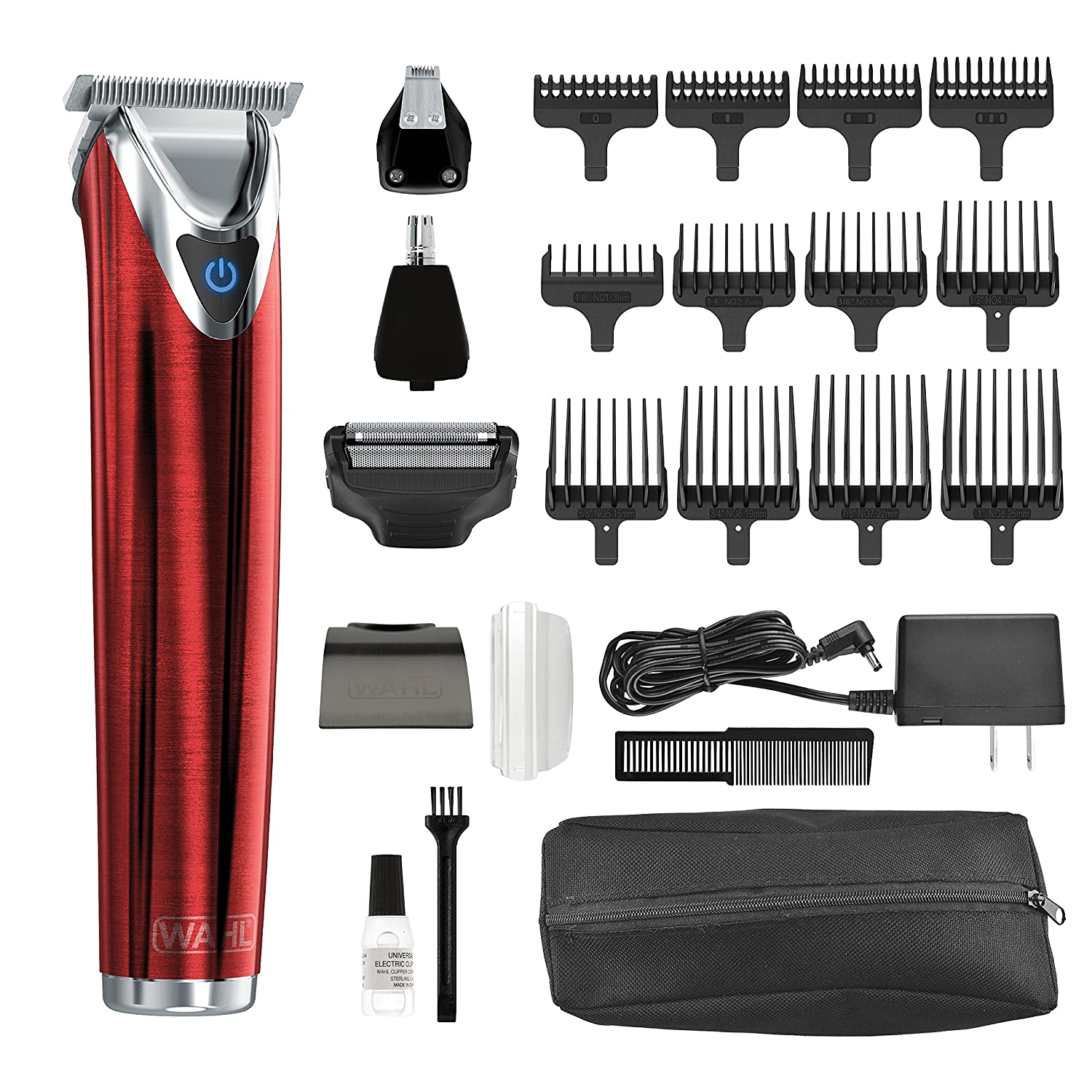 Wahl Clipper Stainless Steel Lithium Ion Plus Beard Trimmer Kit Brushed No.9864SS Cordless Rechargeable Men's Grooming Kit for Haircuts and Beard Trimming Wahl Clipper Corp