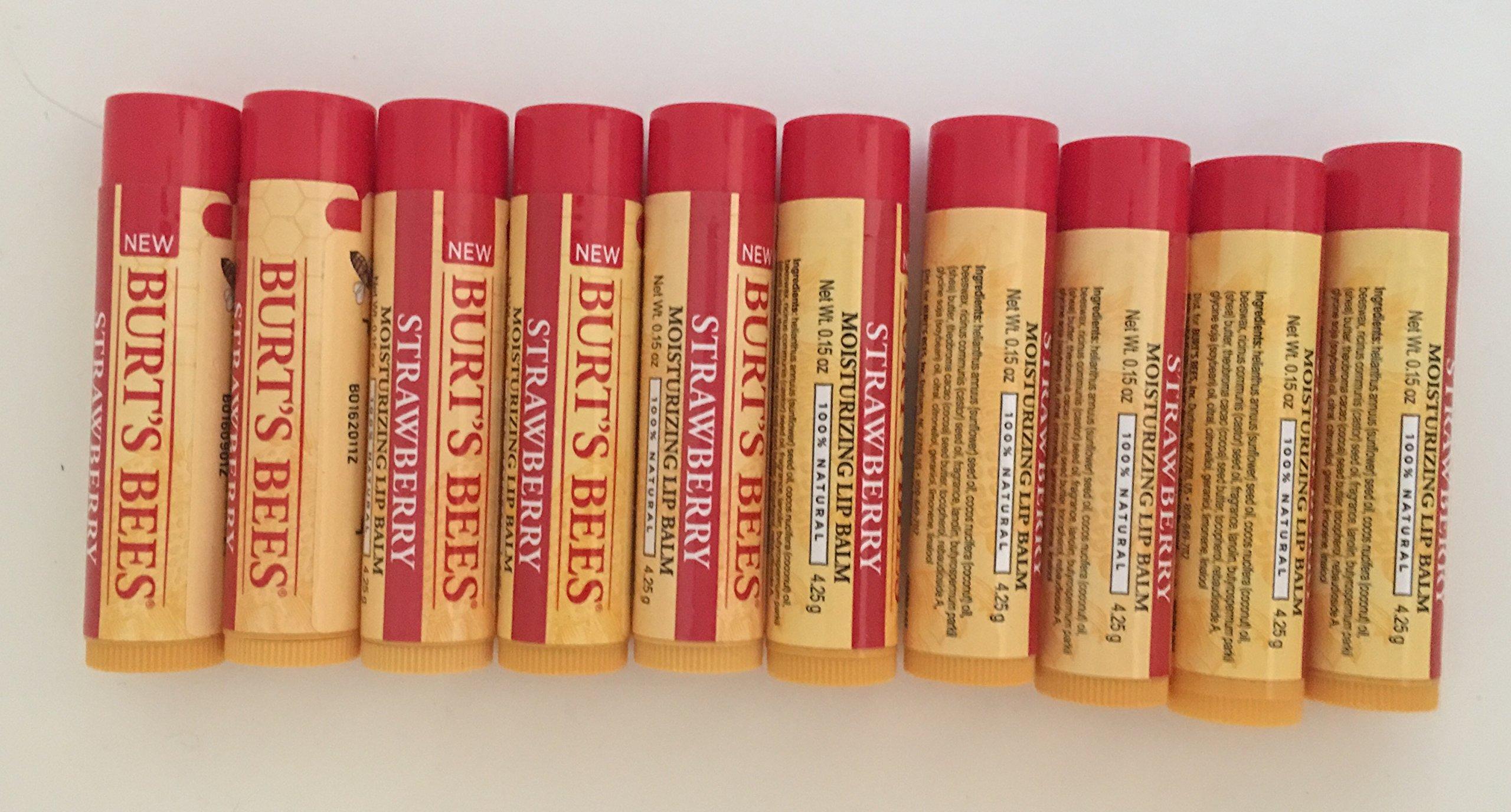 0.15 oz Burts Bees Strawberry Lip Balms (Pack of 10)