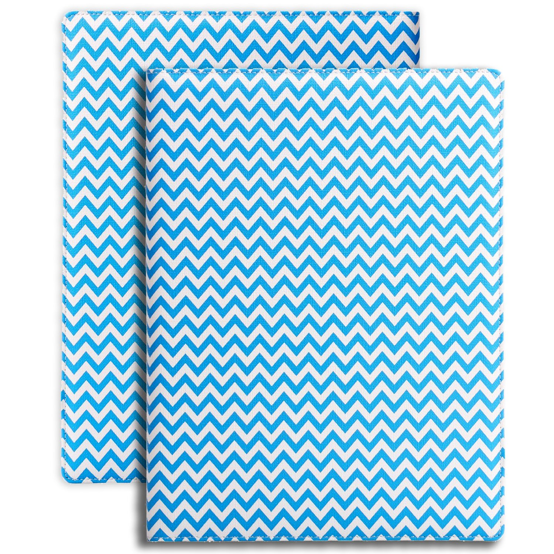Plinrise Luxury Marble Portfolio File Folder Document Resume Organizer,Padfolio File Holder Folders Letter Size,Clipboard Folder With Writing Pad,Black Marbling … (Slim Stripe Blue)