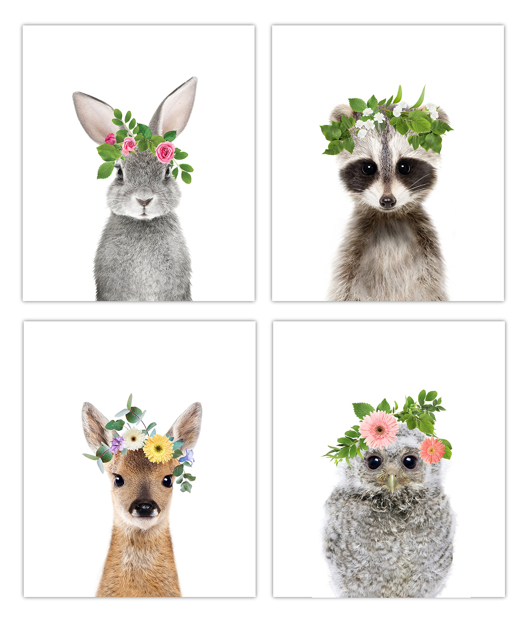 Baby Animals With Floral Crown Nursery Decor Art - Set of 4 UNFRAMED Wall Prints 8x10