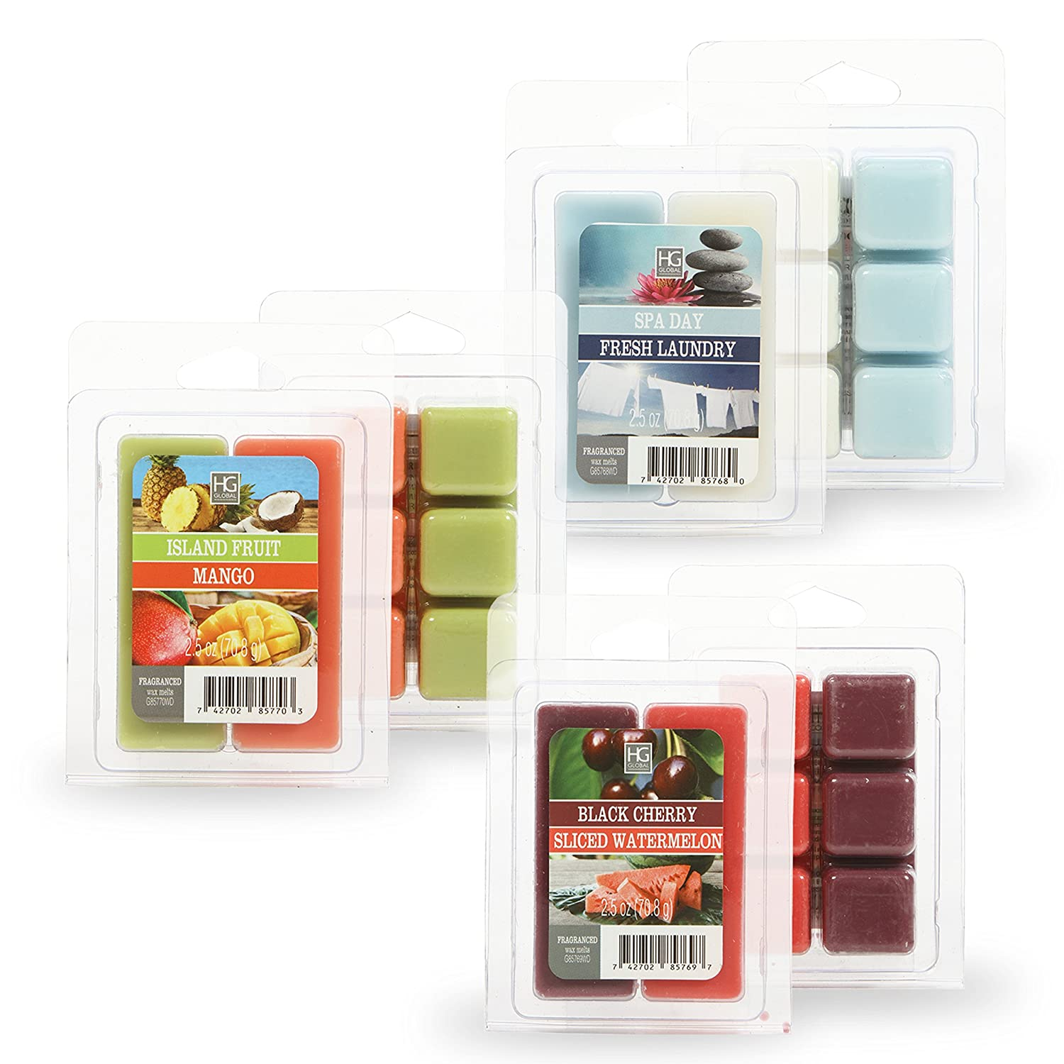 Hosley Set of 6 Assorted Wax Cubes Melts 2.5 Ounce Each. Spa Day Fresh Laundry Black Cherries Sliced Watermelon and Island Fruit Mango. Infused with Essential Oils Ideal Gift O5