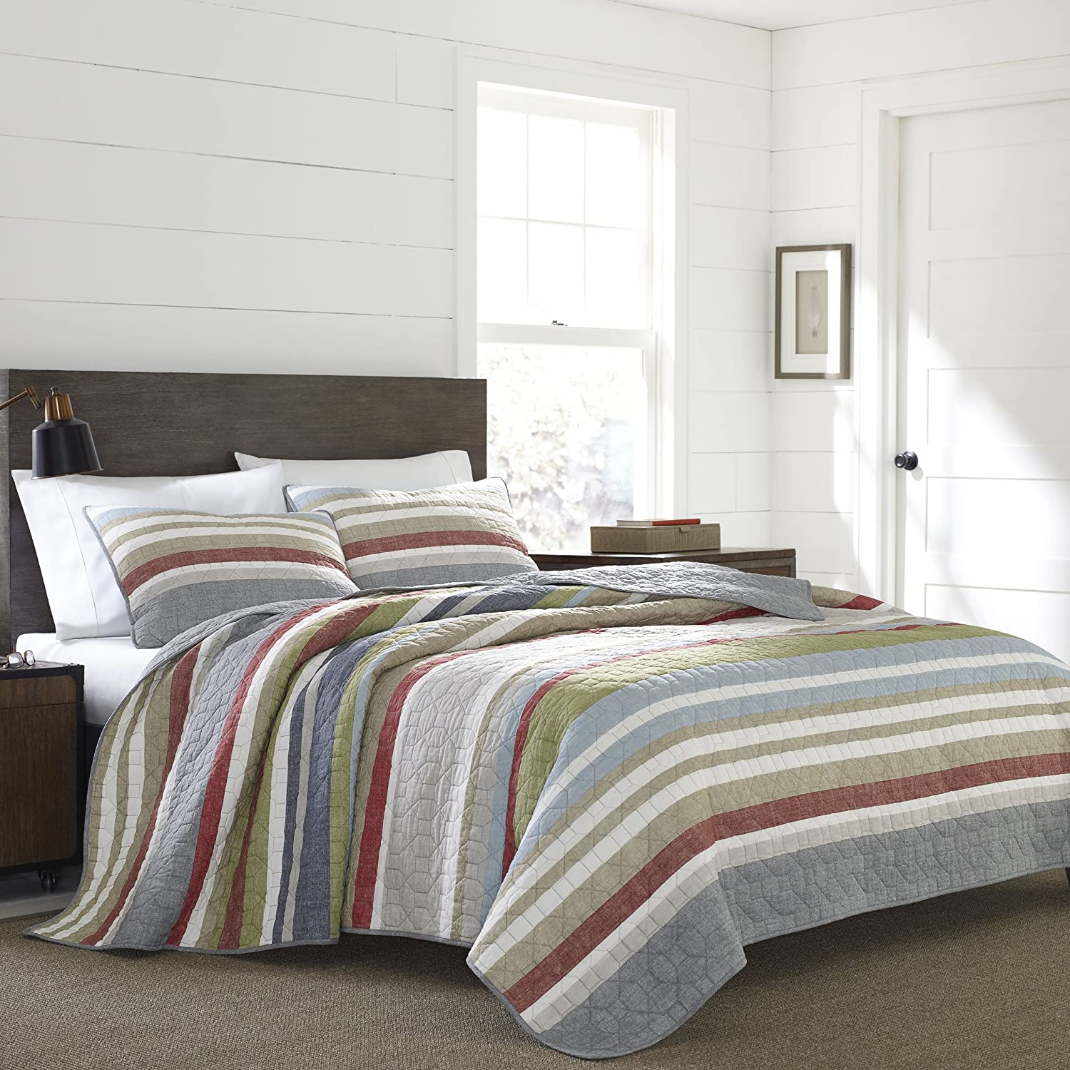 Eddie Bauer 221108 Salmon Ladder Reversible Quilt Set, Full/Queen, Salmon