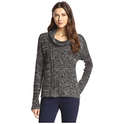 James & Erin Women's Marled Cable Cowl neck Sweater, Black/Grey, M: Clothing