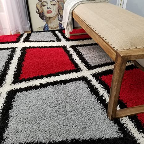 Shag Area Rug 7x10 | Geometric Abstract Boxes Red Gray Shag Rugs for Living  Room Bedroom Nursery Kids College Dorm Carpet by European Made MH10 Maxy ...