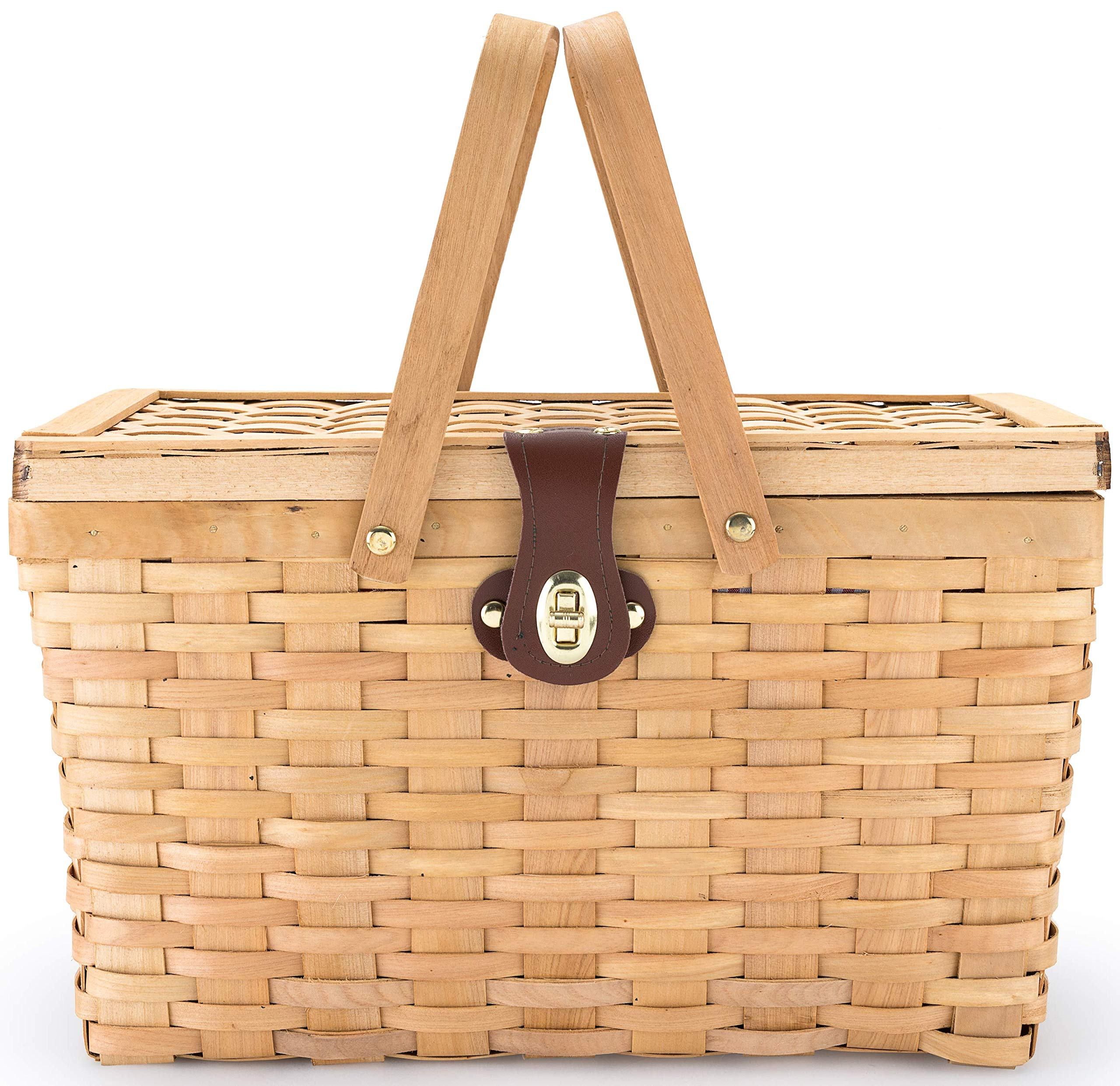 Picnic Basket | Wood Chip Design | Red and White Gingham Pattern Lining | Strong Wooden Folding Handles | Features a Leather Strap Metal Lock for Safety | Natural Eco Friendly Woven Woodchip Basket by CALIFORNIA PICNIC