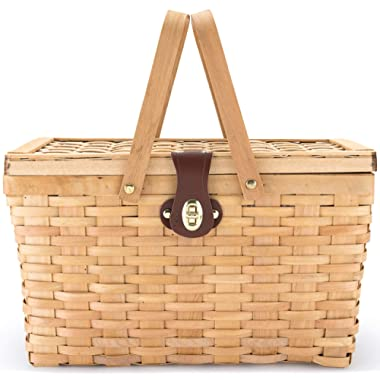 Picnic Basket | Wood Chip Design | Red and White Gingham Pattern Lining | Strong Wooden Folding Handles | Features a Leather Strap Metal Lock for Safety | Natural Eco Friendly Woven Woodchip Basket