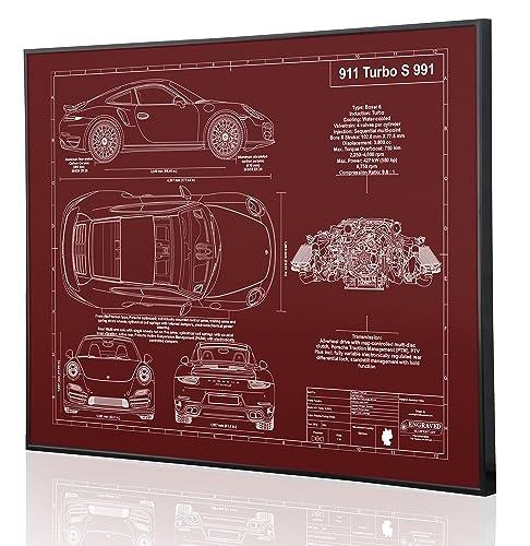 Porsche 991 911 Turbo S Blueprint Artwork-Laser Marked & Personalized-The Perfect Porsche
