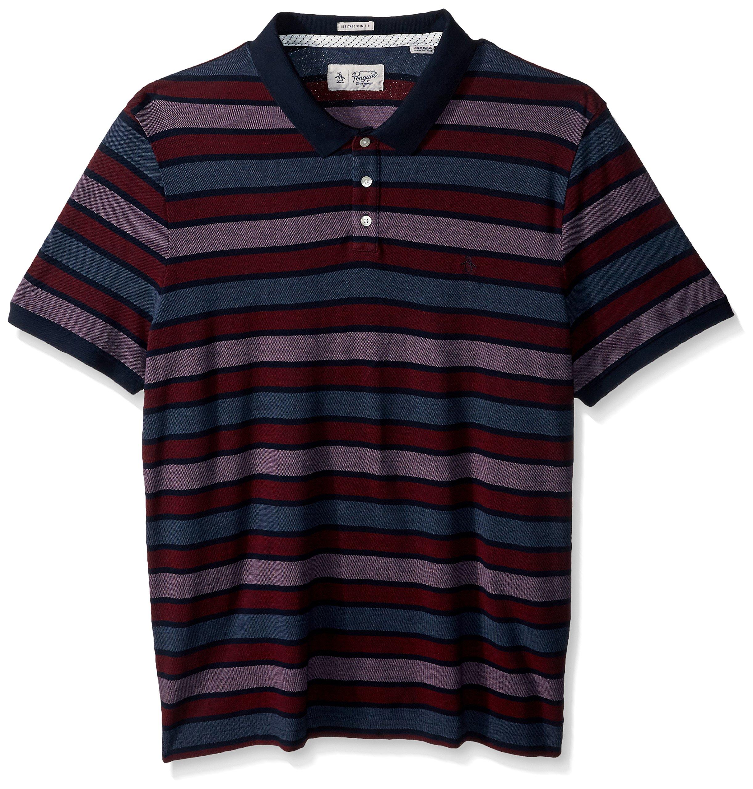 Original Penguin Men's Short Sleeve Birdseye Striped Polo Shirt, Dark Sapphire, Large