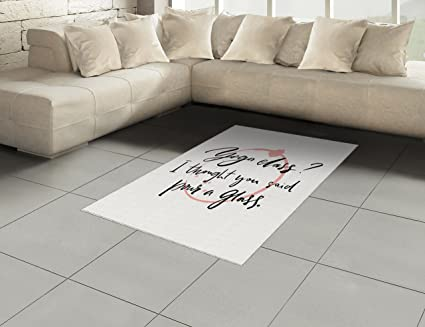 Amazon.com: Ambesonne Quote Area Rug, Sarcastic Saying Yoga Class I Thought You Said Pour a Glass and Wine Trace, Flat Woven Accent Rug for Living Room ...