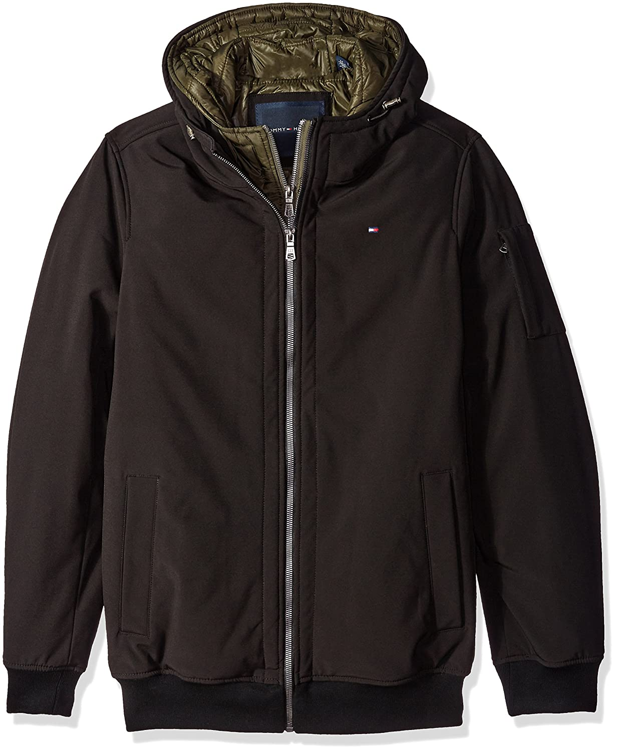 77ba760d4 Tommy Hilfiger Men's Size Tall Soft Shell Fashion Bomber with Contrast Bib  and Hood
