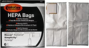 12 Riccar Radiance Simplicity Synergy X9 Hepa Vacuum Bags, Upright Vacuum Cleaners, RSLP-6, S9-6, S9-6. Number SXH-6 for the X9, C20-6, C20-G6, C20-12, RXH-6, RXH6, RXH-12, X9 and G9